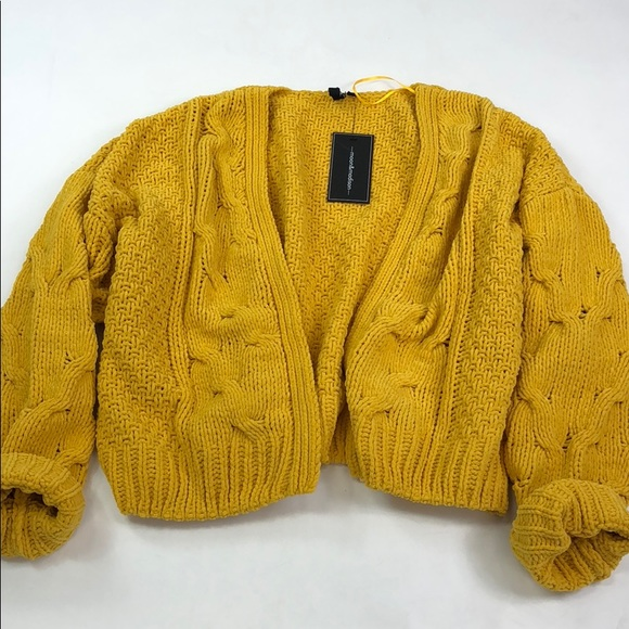 Moon Madison Sweaters Moon Madison Mustard Yellow Cable Knit